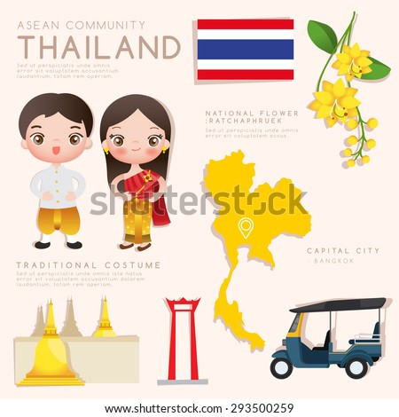 Thailand : Asean Economic Community (AEC) Infographic with Traditional Costume, National Flower and Tourist Attractions : Vector Illustration EPS10 - stock vector