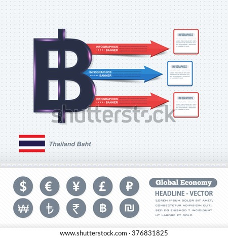 Thailand Baht Symbol, Business Infographics Design, Colorful Arrows