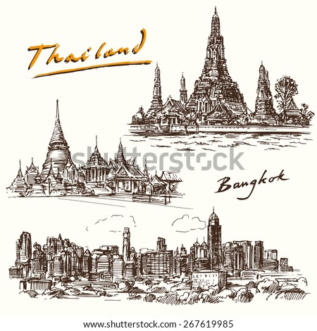 Thailand, Bangkok - hand drawn set - stock vector