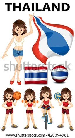 Thailand flag and woman athlete illustration - stock vector