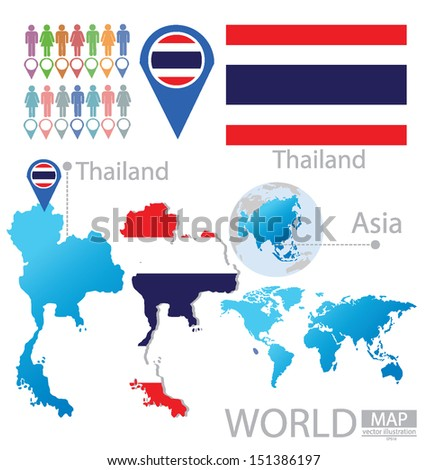 Thailand flag asia world map vector stock vector hd royalty free thailand flag asia world map vector illustration gumiabroncs Images