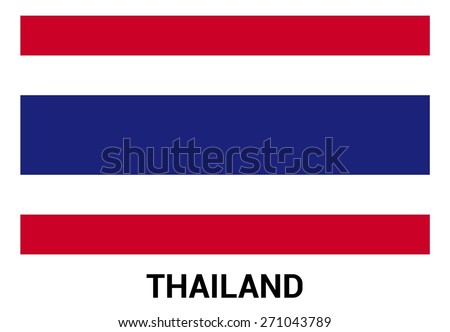 Thailand flag isolated vector in official colors and Proportion Correctly. country's name label in bottom - stock vector
