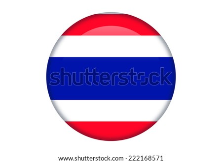 Thailand glossy round button - stock vector
