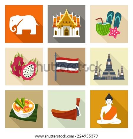 Thailand icon set - stock vector