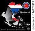 Thailand in Asean Economic Community, AEC, Vector - stock photo