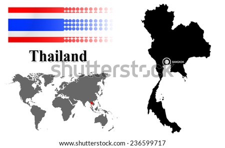 Thailand info graphic flag location world vector de stock236599717 thailand info graphic with flag location in world map map and the capital gumiabroncs Images