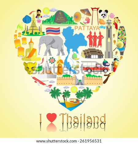 Thailand love. Set vector icons and symbols in form of heart - stock vector