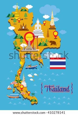 Thailand Map Detail Landmarks Travel Attraction Stock Vector