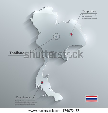 Thailand map flag glass water card paper 3D vector  - stock vector