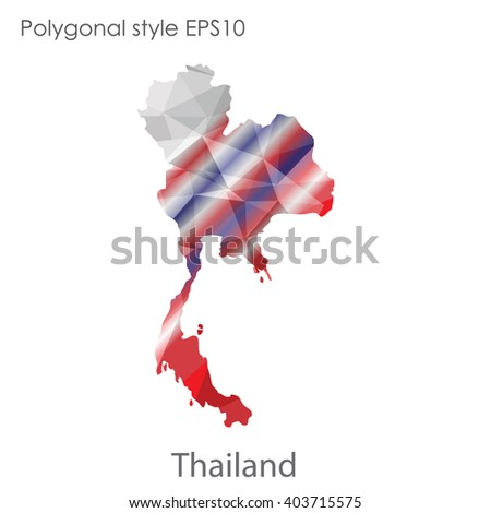 Thailand map in geometric polygonal style.Abstract gems triangle,modern design background.