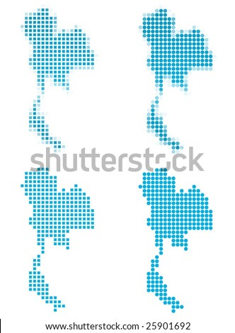 Thailand map mosaic set. Isolated on white background. - stock vector