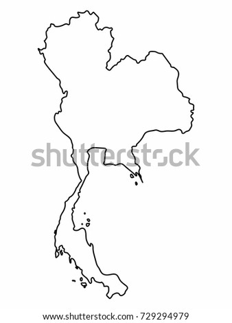 Abstract Outline Thailand Map Stock Vector 258138713 ...