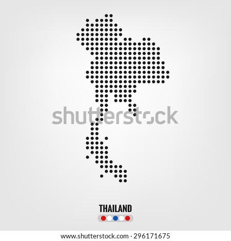 Thailand map,vector halftone dots - stock vector