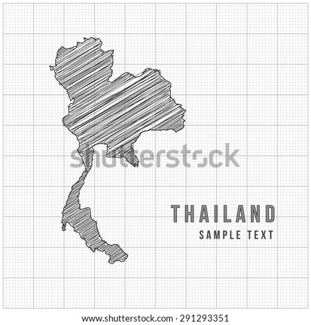 Thailand Map Vector Line Sketch Up with Grid Background - stock vector