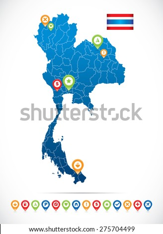 Thailand Map with Flag and Navigation Icons - stock vector