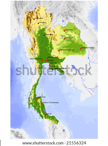 Thailand. Physical vector map, colored according to elevation, with rivers and selected cities. Surrounding territory greyed out. 48 layers, fully editable. Data source: NASA - stock vector