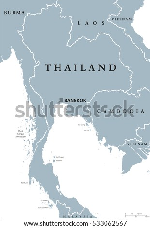 Thailand Political Map Capital Bangkok National Stock Vector ...