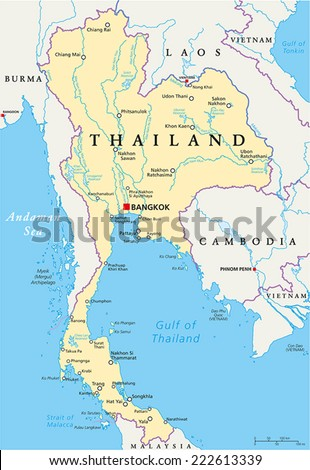 Thailand Political Map with capital Bangkok, national borders, most important cities, rivers and lakes. English labeling and scaling. Illustration. - stock vector