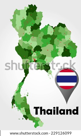 Thailand political map with green shades and map pointer. - stock vector