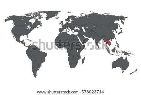 Thailand red on gray world map stock vector 578023714 shutterstock thailand red on gray world map vector gumiabroncs Images