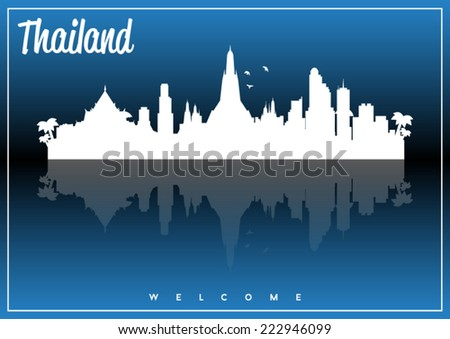 Thailand, skyline silhouette vector design on parliament blue and black background. - stock vector