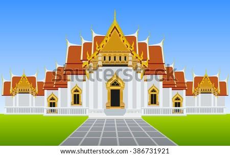 thailand temple landmark vector - stock vector