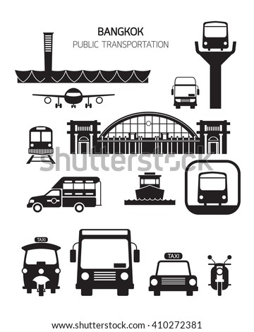 Thailand Transportation Objects, Silhouette Set, Mode of Transport, Station - stock vector