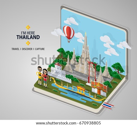Thailand Travel Concept Most Beautiful Places Stock Vector 670938784 Shutterstock