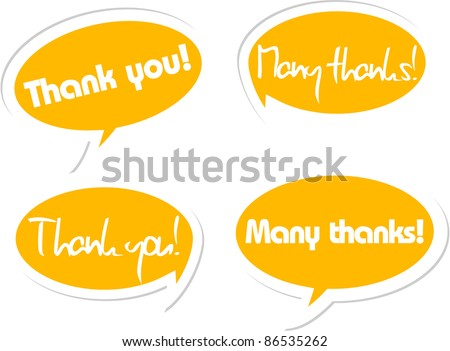 Thank you and many thanks bubbles in orange with white edge 3d looking - stock vector