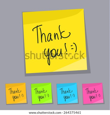 Thank you and smiley symbol on sticker. Flat design. Vector illustration.