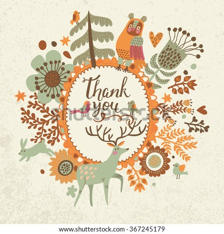 Thank you - awesome concept card with animals and birds in vector. Owl, rabbit, deer and birds in hearts, trees, leafs and flowers. Romantic background in cartoon style