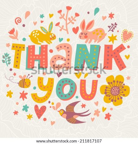 Thank You Bright Concept Card Vector Stock 211817107