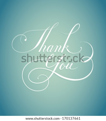 Thank you calligraphy - stock vector
