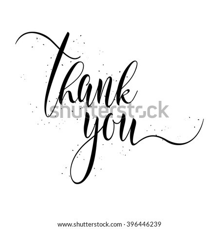 Thank You calligraphy sign. Brush painted letters, expression of gratitude vector illustration. - stock vector