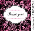 thank you calligraphy text on a color background. Vector Illustration - stock vector