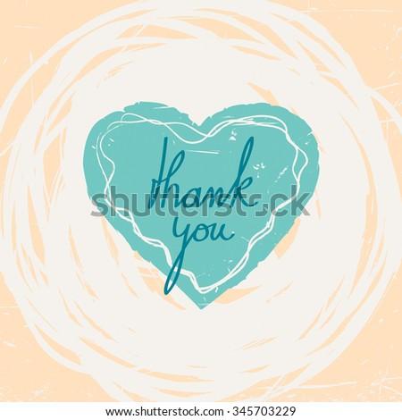 thank you card - stock vector