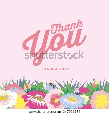 Thank you card after the wedding. Blossoming flowers on the bottom of the card on pink background. Vector and illustration design. - stock vector