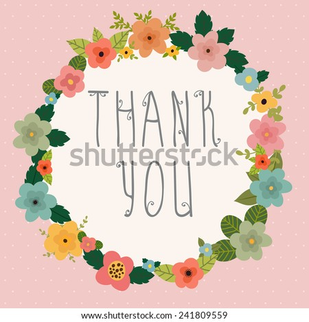 Thank you card. Bright floral frame on pink background. Vector illustration - stock vector