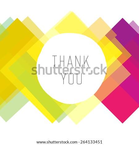 Thank you card colorful, vector  - stock vector