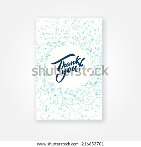 Thank you card design with hand lettering - stock vector
