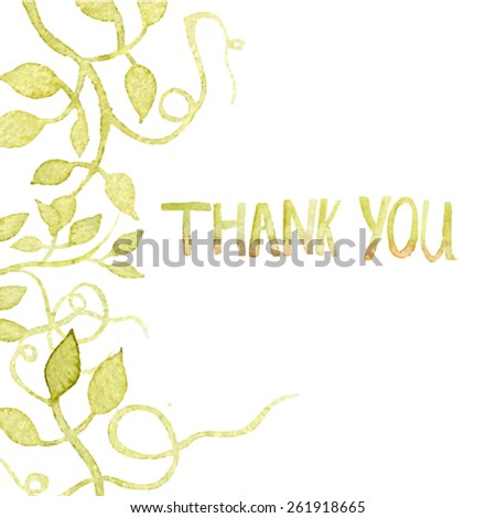 Thank you card. Floral elements background watercolor hand drawn. Spring or summer design for invitation, wedding or greeting cards. Eps10  - stock vector