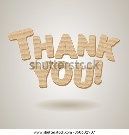 thank you card made light brown stock vector royalty free