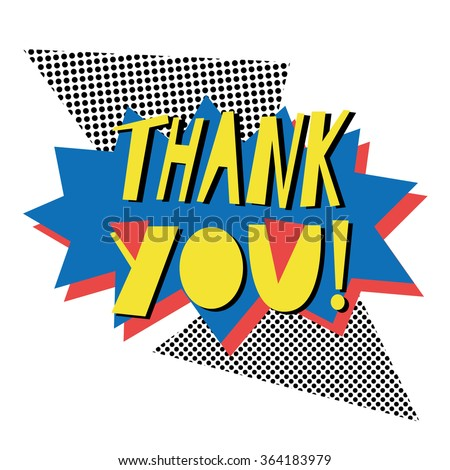 Thank you - card template in retro eighties style 1 - stock vector