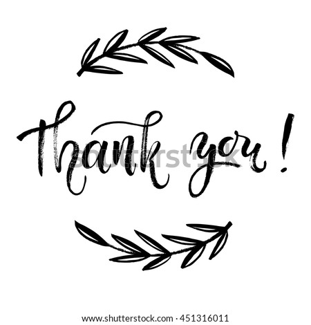 Thank You Card, Thanks. Vector Isolated Hand Drawn Lettering Doodle Floral  Wreath. Printable