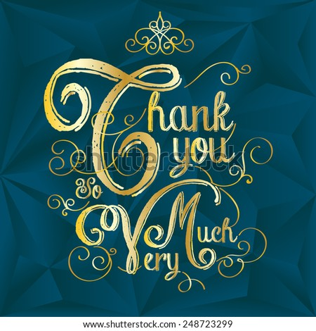 Thank You card, Typography hand lettering golden on polygon background - stock vector