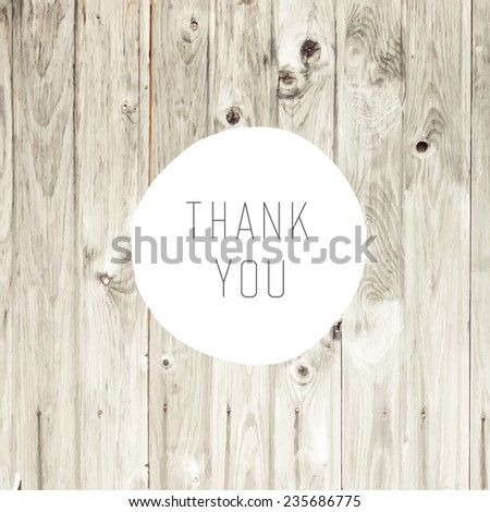 Thank You Card with Blond Wooden Background - stock vector