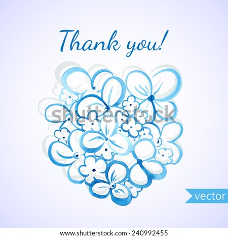 Thank you card with hand drawn watercolor flowers - stock vector