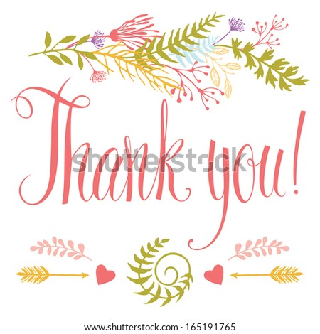 Thank you card with heart, forest herbs, arrows and calligraphy - stock vector