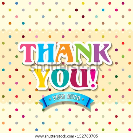 Thank you card with Typography  - stock vector