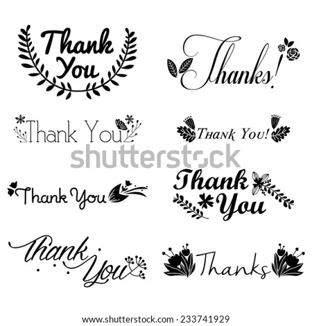 Thank You Decorative Flowers Stamp Set Silhouette - stock vector